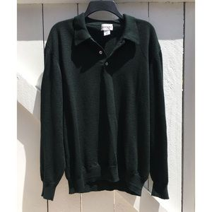 VTG Alfani Merino Wool Black Polo (Made in Italy)